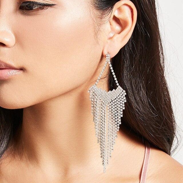 Dvacaman Brand Luxury Crystal Pendant Earrings Indian Bridal Women Statement Wedding Boho Large Maxi Drop
