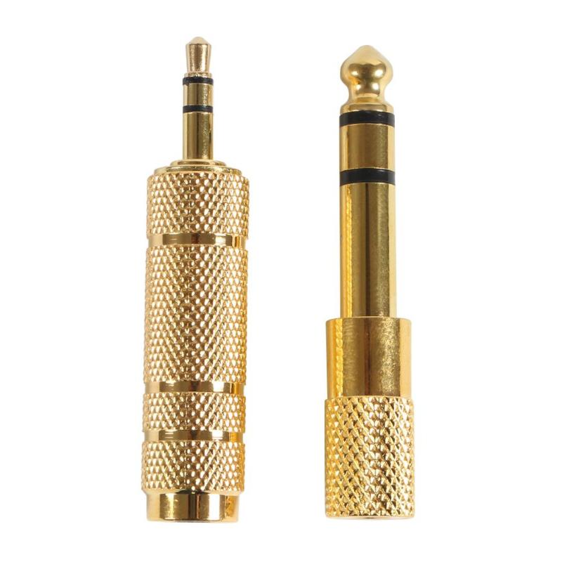 Gold 3.5mm To 6.5mm Female To Male Guitar Stereo Headphone Jack Audio Adapter Kit For Jack Amplifier Or Stereo Amplifie
