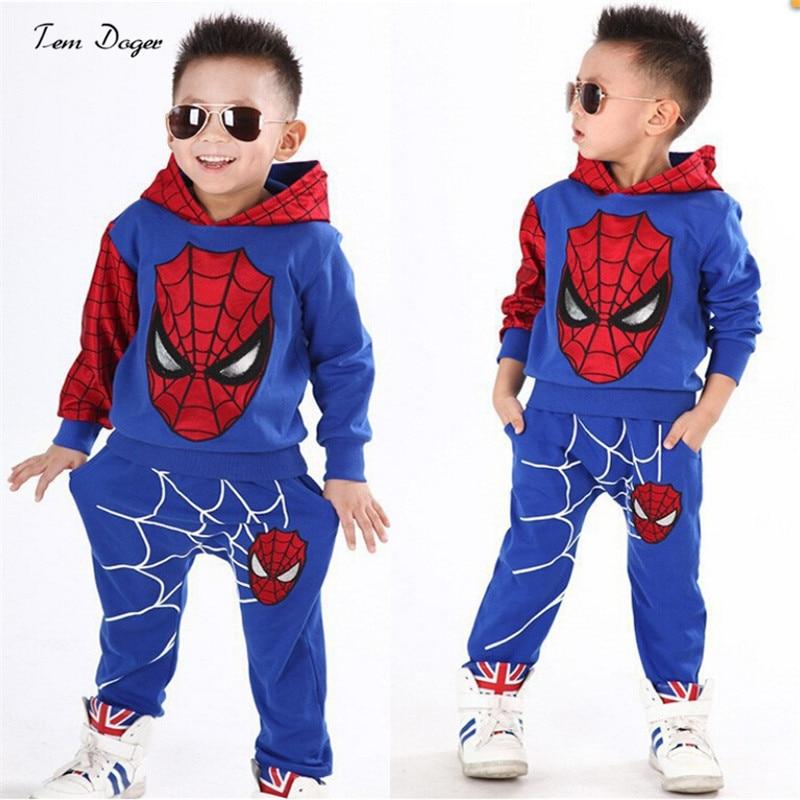 Baby <font><b>Boys</b></font> <font><b>Spring</b></font> <font><b>Autumn</b></font> <font><b>Spiderman</b></font> <font><b>Sports</b></font> <font><b>suit</b></font> <font><b>2</b></font> <font><b>pieces</b></font> set Tracksuits Kids Clothing sets 100-140cm Casual clothes Coat+Pant