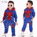 Meninos Primavera Outono Spiderman terno Dos Esportes do bebê 2 peças conjunto de fatos de Treino conjuntos de Roupas Crianças 100-140 cm roupas Casuais casaco + Calça