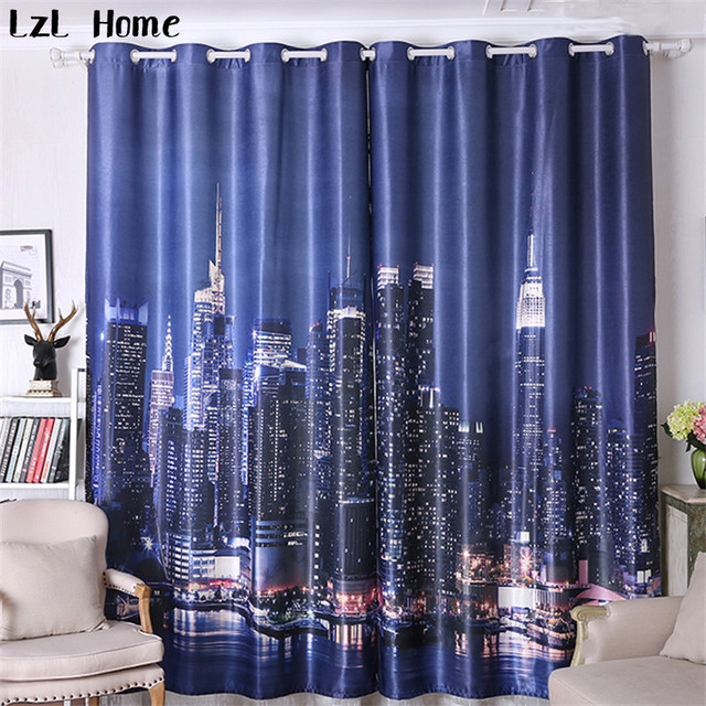 Lzl Home Hot Modern City Night View Window Curtains Luxury Hotel Paris Architecture Living Room