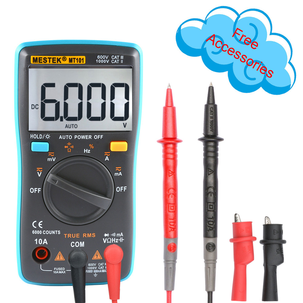 Digital Multimeter DC AC Voltage Current Resistance Tester 6000 Counts Multi Meter Automatic Polarity Identification Multimeters цена