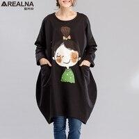 Autumn Cotton long hoodie dress Loose Vintage plus Size kawaii little girl printed hoodies sweatshirt Women Sudadera Mujer