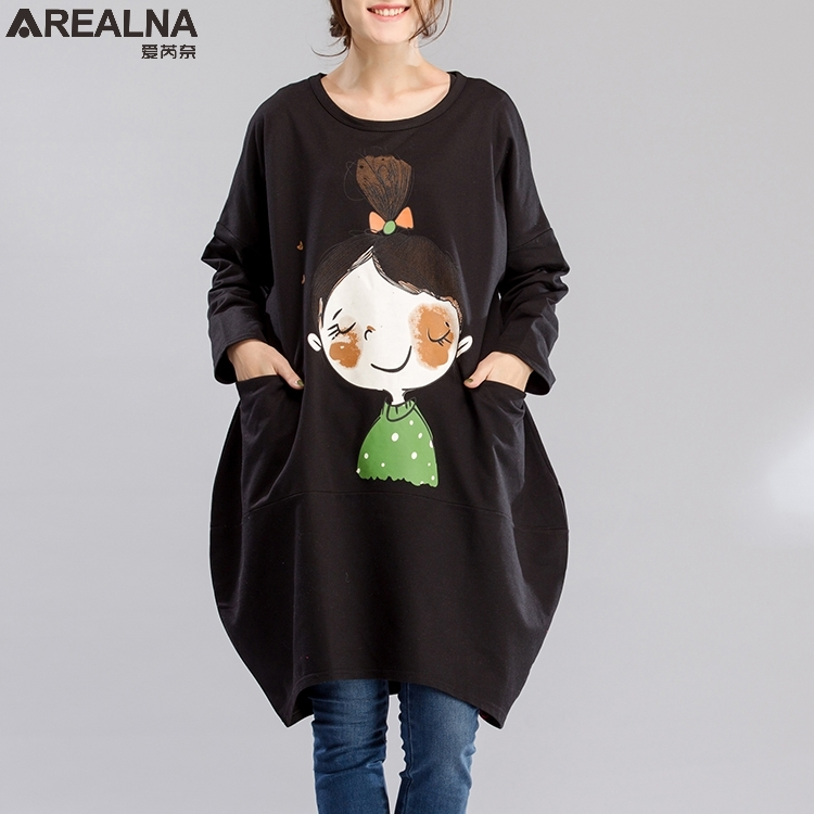 Autumn Cotton long hoodie dress Loose Vintage plus Size kawaii little girl printed hoodies sweatshirt Women Sudadera Mujer