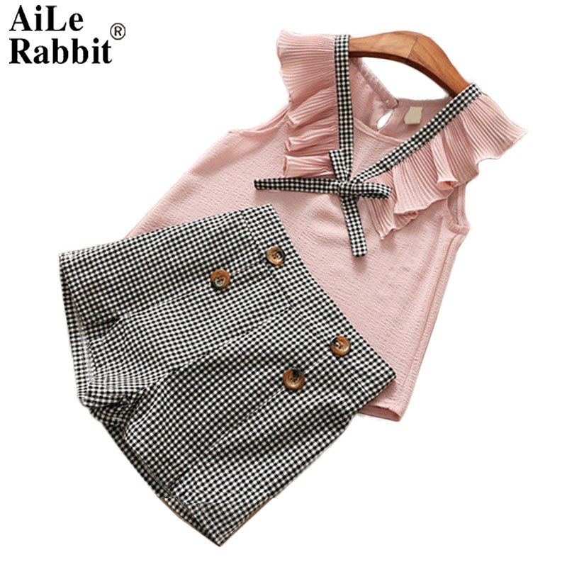 AiLe Rabbit Girls Summer Set 2018 Kids Clothes Girls Clothing Sets Two-Piece Kids Suit Children's Clothes Chiffon 2-9 Years humor bear girls clothes girls sets summer set 2018 kids clothes girls clothing sets two piece kids suit children clothing
