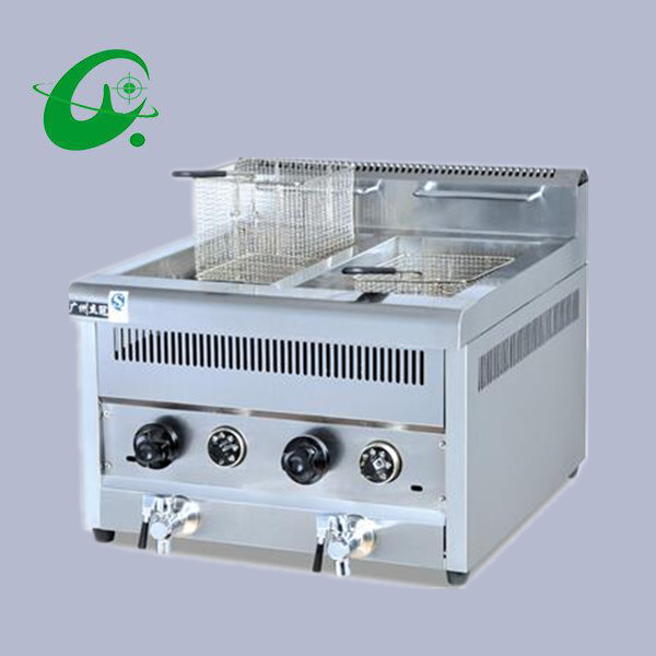 Stainless Steel Counter Top Electric 2-Tank Fryer (2-Basket)  28L Counter top Deep Fryer Gas cylinder blast furnace