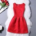 Rojo Rosa Negro Blanco Túnica Mujeres Sólido Vestido de Las Señoras Del Partido de noche Elegante Casual Mini Corto Sin Mangas de Una Línea de Más Tamaño vestidos