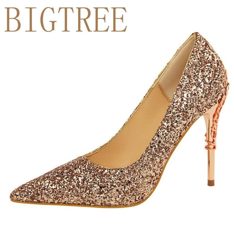 2017 New Rhinestone High Heels Shoes Sequins Women Pumps Pointed toe Woman Crystal Wedding Shoes 9.5cm metal heel