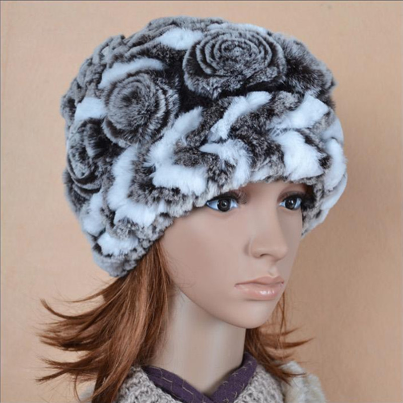 (TopFurMall) Genuine Knitted Rex Rabbit Fur Hat Winter Lady Floral Cap Female Headgear Women Fur Beanies 0225