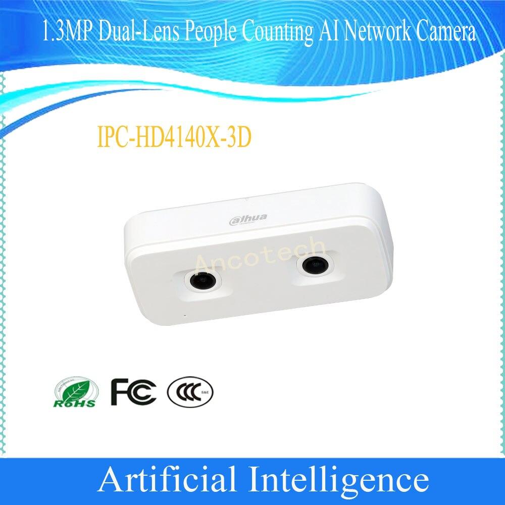 Livraison gratuite DAHUA CCTV IP caméra intelligente artificielle 1.3MP double lentille personnes comptage AI caméra réseau POE DH-IPC-HD4140X-3D