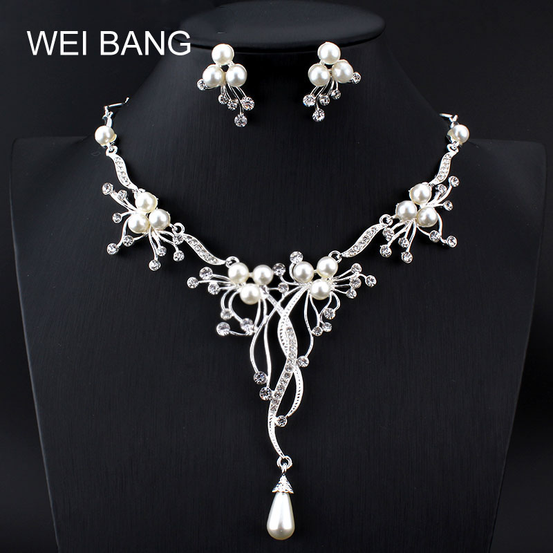 58e4fa970 Weibang Beautifully Silver Branch Pearls Necklace Earrings Wedding Jewelry  Set Handmade Bridal Accessories Women Jewelry Sets-in Jewelry Sets from  Jewelry ...
