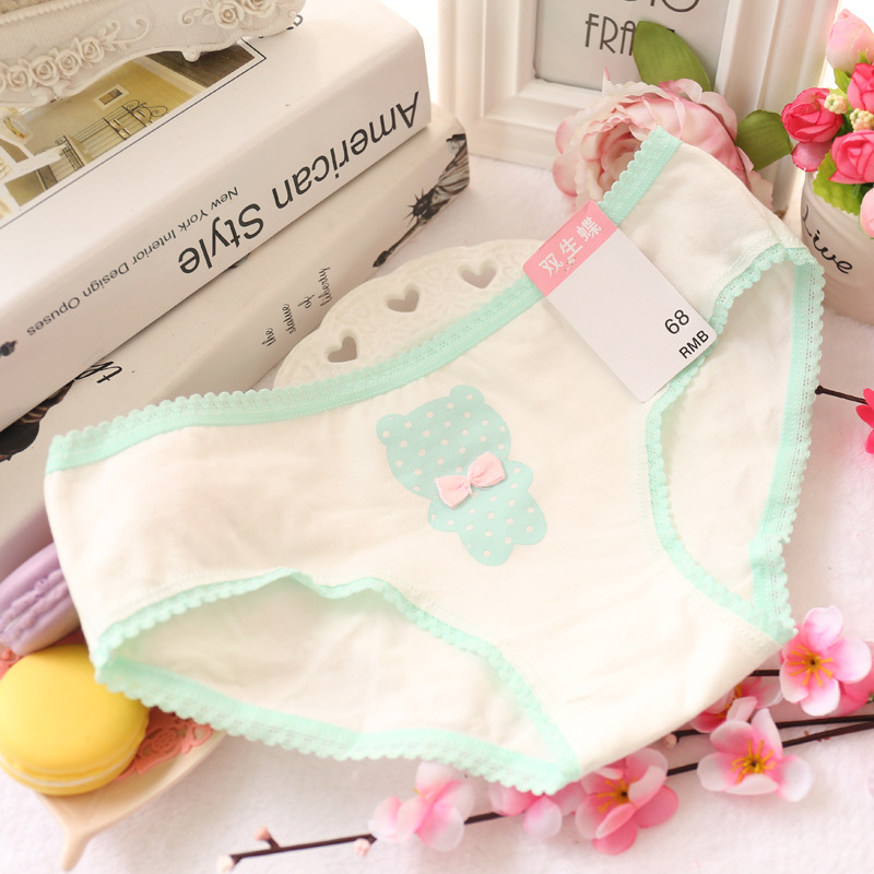 girl's underwear 5pc/bag lace cotton candy low waist  briefs young girl panties  Teenagers wholesales mix 5 style 1