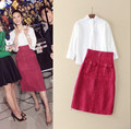 2 Pieces Set New Fashion Spring 2017 High Quality Women White Cotton Shirt+High waisted Wool Skirt Pencil Career Office Suits