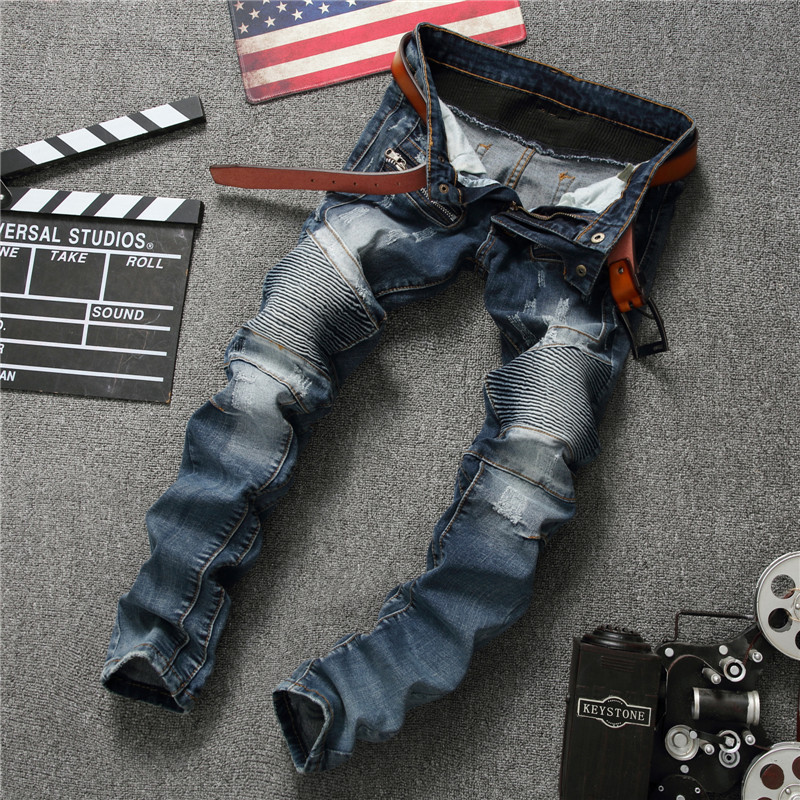 ФОТО Hot Sale Designer Biker Jeans Blue Men Elastic Ripped Jeans High Quality Winter Warm Skinny Jeans Denim Brand Clothing Plus Size