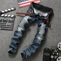 Hot Sale Designer Biker Jeans Blue Men Elastic Ripped Jeans High Quality Winter Warm Skinny Jeans Denim Brand Clothing Plus Size