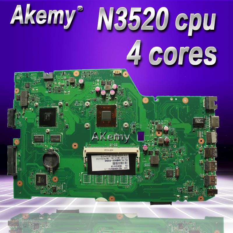 Akemy X751MD Laptop Motherboard For ASUS X751MD X751M K751M Test Original Mainboard  N3520 Cpu 4 Cores 2.167 GHZ