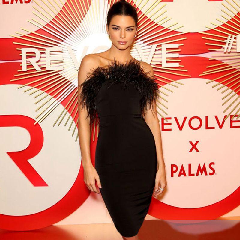 Veados senhora vestidos bandage 2019 luxo preto bandage vestido mini festa strapless bandage vestido bodycon feminino vestido de penas clube