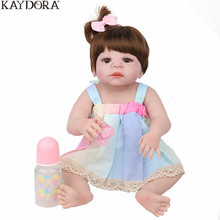 KAYDORA New 22 inch 55cm Full Silicone Reborn Baby Dolls Alive Lifelike Girl Doll Realistic Toys For Bebe