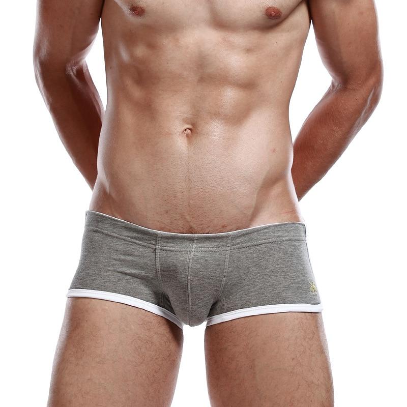 SEOBEAN Ropa interior boxer de algodón para hombre, pantalones cortos de talle bajo con estampado sólido, 6 colores