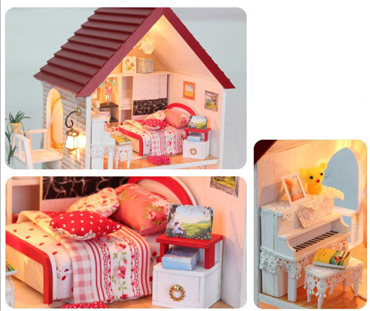 Free Shipping DIY Wooden Miniature Furniture Doll House With Garden Mini  Vila Doll House Building In Hair Clips U0026 Pins From Beauty U0026 Health On ...