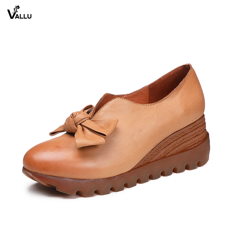 VALLU Women Wedge Shoes Platform Pumps Sweet Butterfly Knot Handmade Vintage Genuine Leather Ladies High Heel Shoes sweet wedge heel and knot design sandal for women