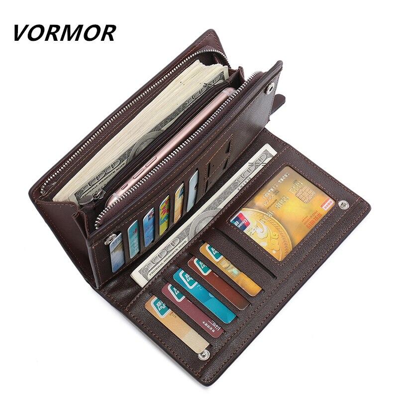VORMOR Top Quality leather long wallet men pruse male clutch zipper around wallets men women money bag pocket mltifunction недорго, оригинальная цена