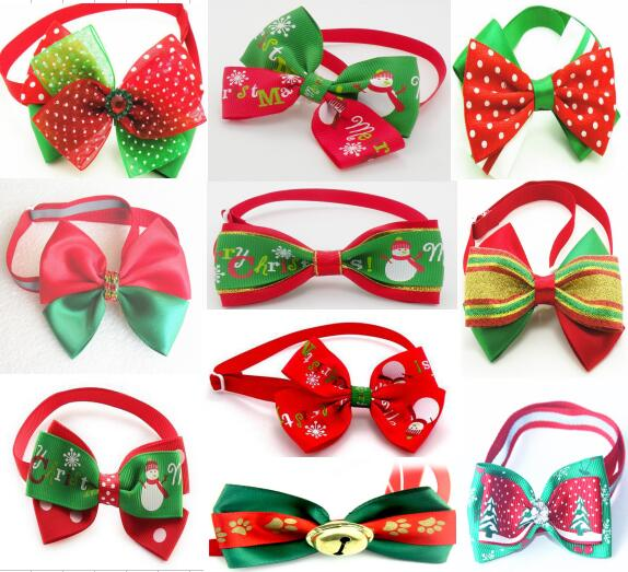 100pc lot Big Sale Christmas Pet Dog puppy cat Bow Tie Festival Accessories Grooming Supplies Wholesale