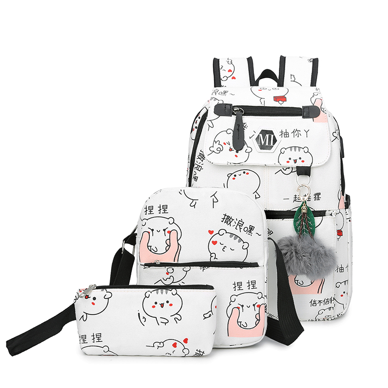 f9b356af08 Dropwow 2018 USB Charging Canvas Backpack 3 Pcs set Women School ...