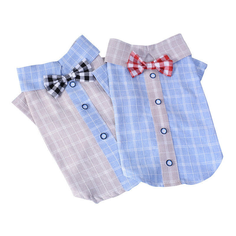 Wholesale Dog Baby Party Dog Clothes Shirt Nice Bow Tie Pets Clothes England Gentleman Dog Clothing Lattice Shirt Pet Clothes