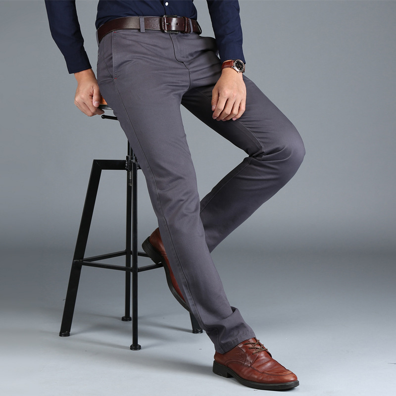 Image 4 - Mens Chinos High Quality Cotton Casual Pants Stretch Male Trousers Man Long Straight Plus Size chinos pants-in Casual Pants from Men's Clothing