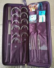 Duplo apontou um conjunto de aço inoxidável agulha de tricô crochê ganchos 80cm agulha circular gancho needlework malha ferramenta 611