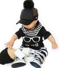 ST203  Hot selling children clothing  set baby clothes glasses pattern short-sleeved T + stripe pants fashion boys clothes