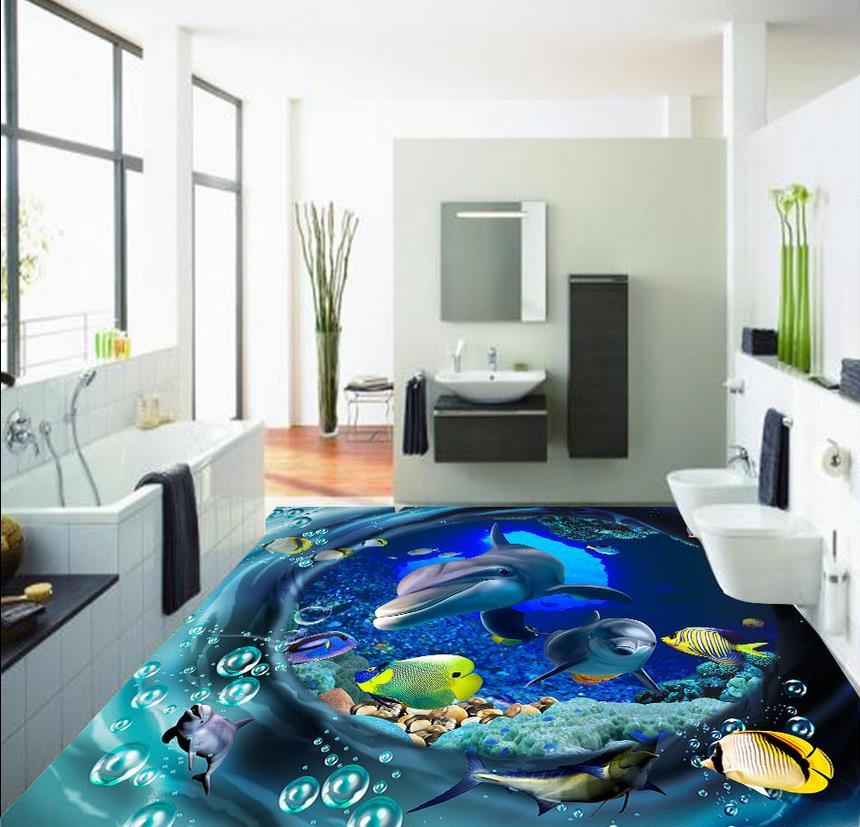 9f063d2d67d Украшение дома 3D индивидуальные обои swirl подводный мир 3D пол ПВХ  Самоклеящиеся обои
