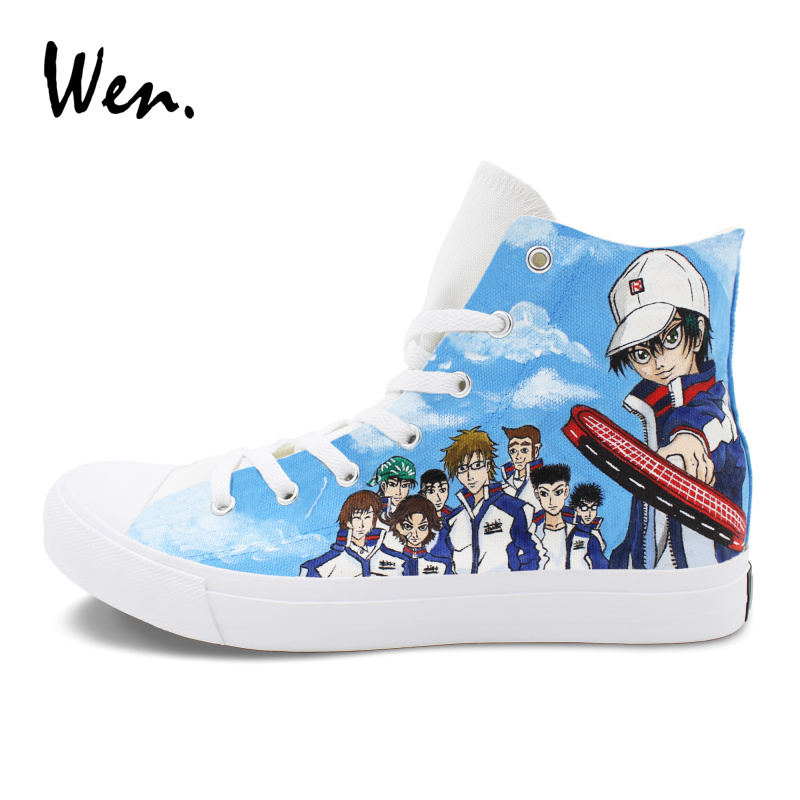 Wen Classic Athletic Sneakers Men Women's Flat Design Anime The Prince of Tennis Hand Painted Shoes White Canvas Plimsolls shazdeh ehtejab the prince