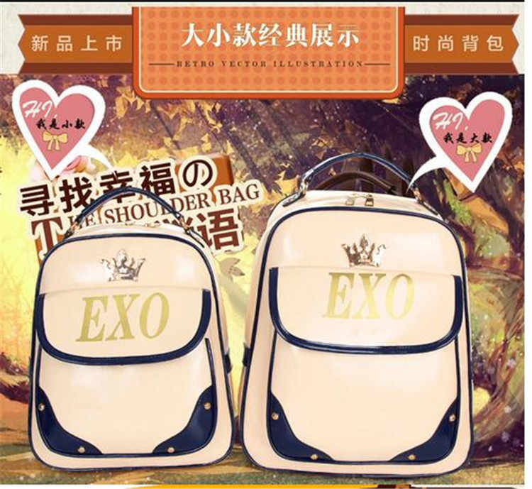 Kpop 2017 EXO moda Corea corona Imperial marca EXO logotipo bronceador PU estudiantes lona hombro montañismo turismo