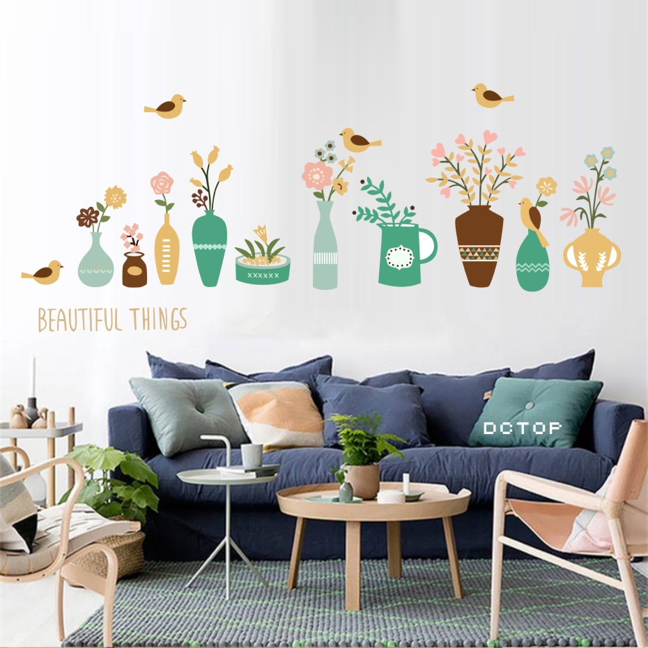 Buy beautiful flower vase wall sticker - Beautiful wall stickers for living room ...