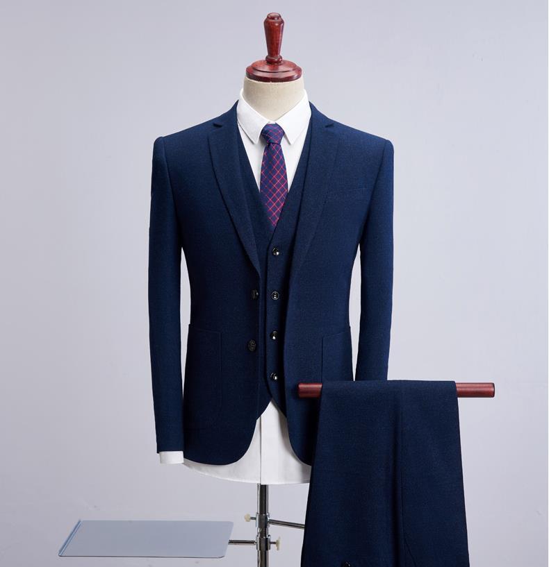 (Jacket+Vest+Pants) 2019 Blue Men Slim Fit Prom Tailored Suit Classic Business Wedding 3 Pieces Costume Tuxedo