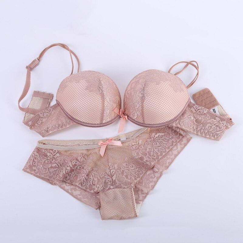 Women Sexy Lingerie Lace Cotton   Bra     Set   Embroidery Underwear Push Up   Bra   And   Briefs     Bra     Set