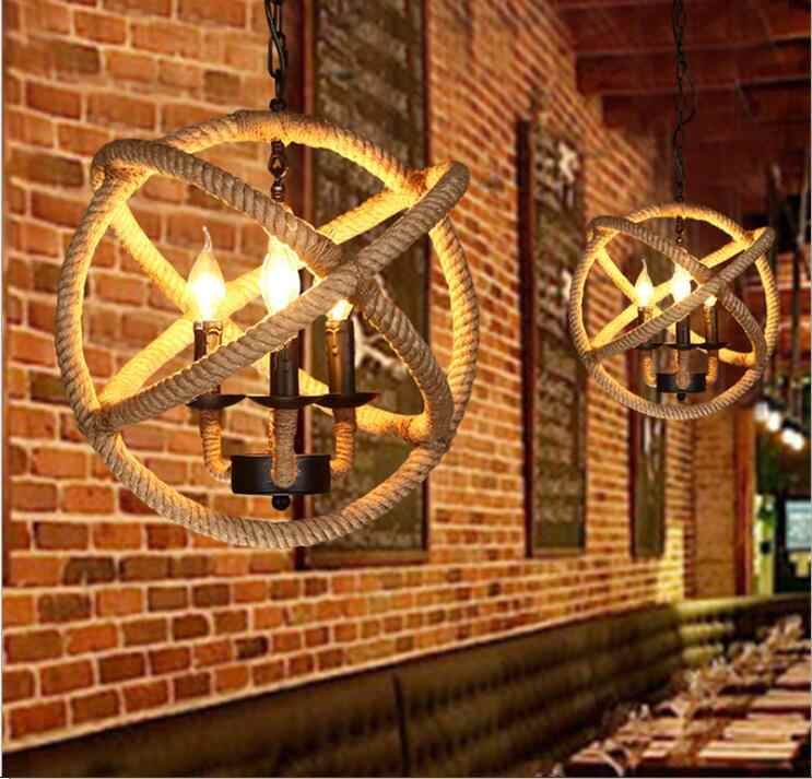 Американский кантри личность светодиодный веревки подвесной светильник Гостиная кафетерий промышленные светильники подвесной светильник