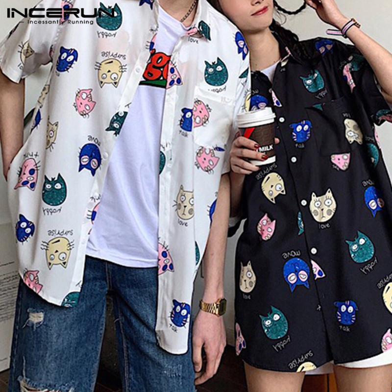 INCERUN Men Shirt Cartoon Printed Short Sleeve Loose Casual Hawaiian Shirt Men Summer Cool Fashion Streetwear Couple Shirts 2019 in Casual Shirts from Men 39 s Clothing