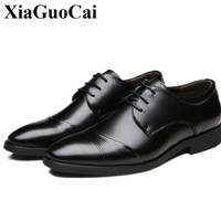 Man Leather Shoes Business England Low Fashionable Square Toe Solid Lace Up Black Breathable Waterproof Big