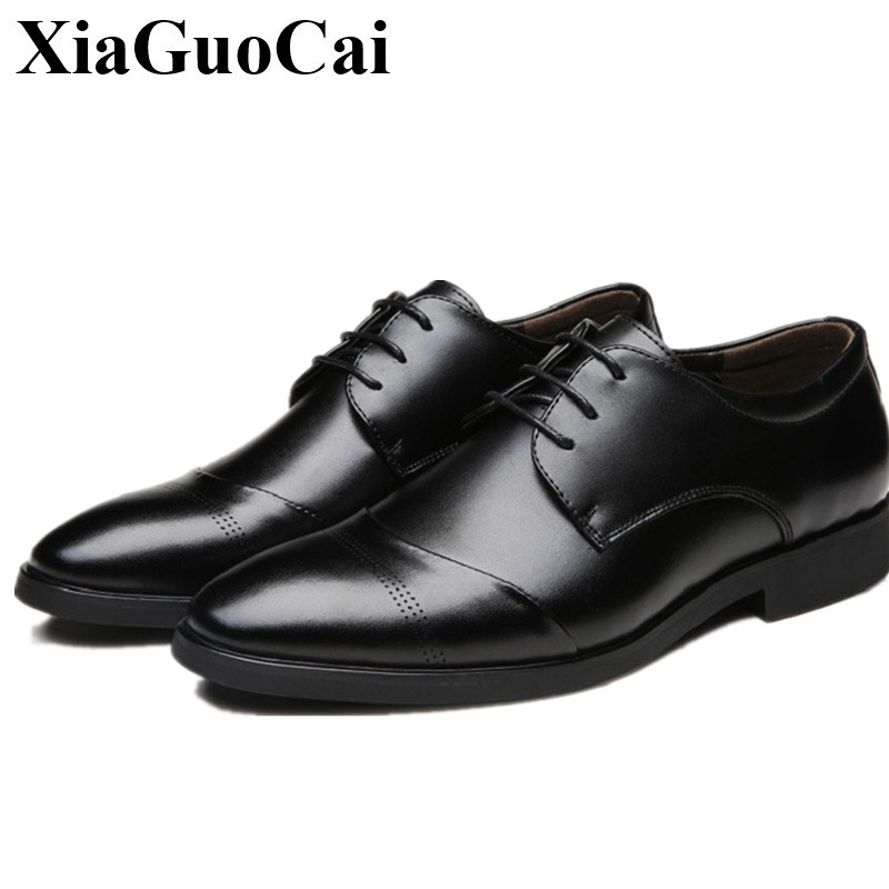 XiaGuoCai Big szie 37-47 Man Leather Shoes Oxford Business footwear point Toe Solid Lace-Up Breathable Dress Men Formal Shoes
