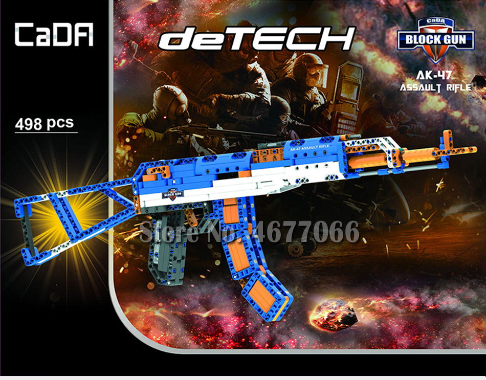 cada technic building blocks AK-47  gun  military legou toy bricks weapon set can fire  rubber band  toys for children boys kids 17