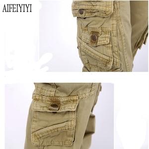 Image 5 - 2020 Men Women Denim Pantalon Femmes Workout Military Multi Pocket Baggy Cargo Pants Loose Straight Trousers Pantalones De Mujer