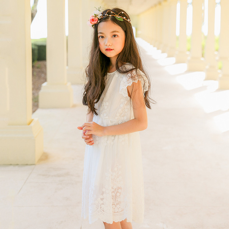 Summer New Girls Princess White Lace Dress Children Wedding Party Vacation Clothing Flying Sleeves Kids Girl Lovely Dresses E52 цена