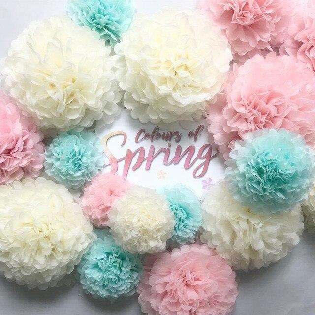 Polegada 10 4 centímetros Papel Tissue Pom Poms Flor Balls para o Casamento Fontes Do Partido Do Chuveiro Do Bebê Decoração Bithday Natal DIY artesanato