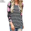 Mulheres do outono t camisa tarja ocasional 3/4 manga floral patchwork preto fino top tees