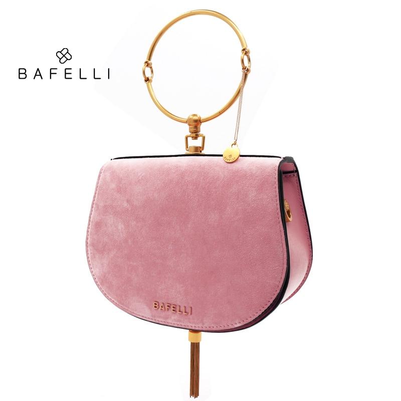 BAFELLI suede en peau de mouton épaule sac métal glands bolsos mujer métal anneau sac à main rose or selle sac femmes messenger sacs