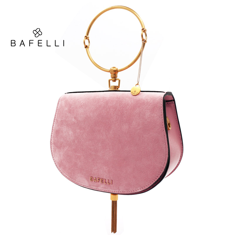 BAFELLI suede sheepskin shoulder bag metal tassels bolsos mujer metal ring handbag rose gold saddle bag women messenger bags