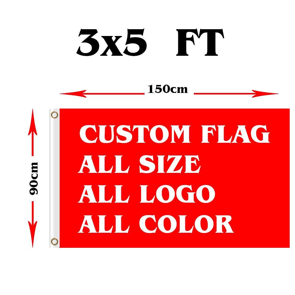Ev ve Bahçe'ten Bayraklar, Pankartlar ve Aksesuarlar'de 3x5ft özel bayrak herhangi bir logo herhangi bir kelime herhangi bir stil için herhangi bir boyut reklam, festival, etkinlik özel bayrak'da  Grup 1